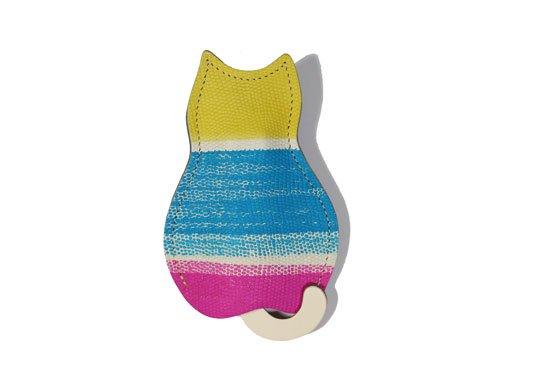 【猫グッズ】猫のうしろすがたをしたキーケース限定カラー 「アーティー/ボーダー・ピンク」クアトロガッツ