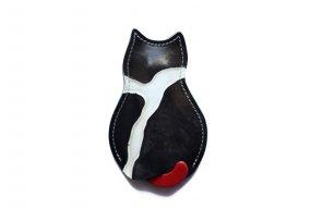 【猫グッズ】猫のうしろすがたをしたキーケース限定カラー 「イタリアンアートレザー ジラフブラック 」クアトロガッツ