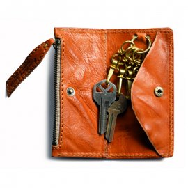 Key & Coin Case Washed Italy Leather Camel