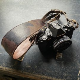 Italy Camouflage Leather Camera Strap