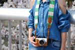 帆布カメラストラップ(オレンジ&ライム)