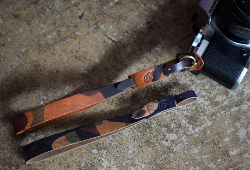 Italy camouflage Leather Hand Strap [Gray,Brown]