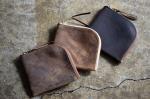 KUDU Leather Short Zip Wallet [Gray,Camel,Dark Brown]