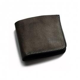 Roberu Short Wallet Shading Leather Dark Gray