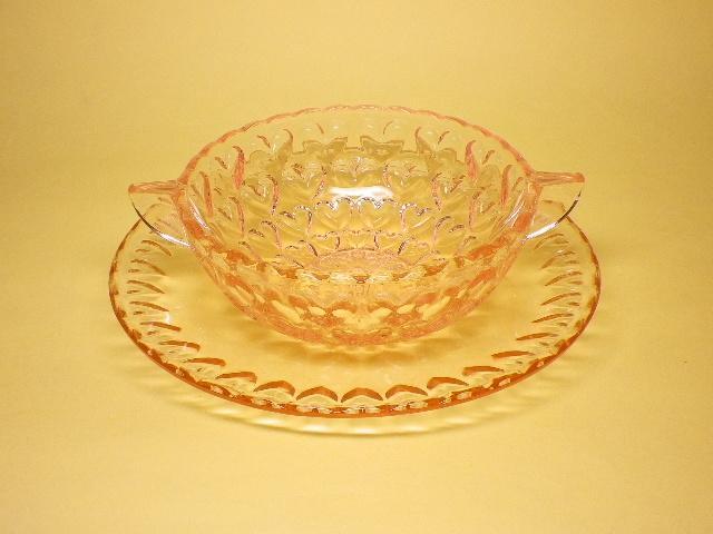 レトロ 東洋ガラス シャンゼリゼ ハート模様 デザートグラス&ソーサー ※わけあり
