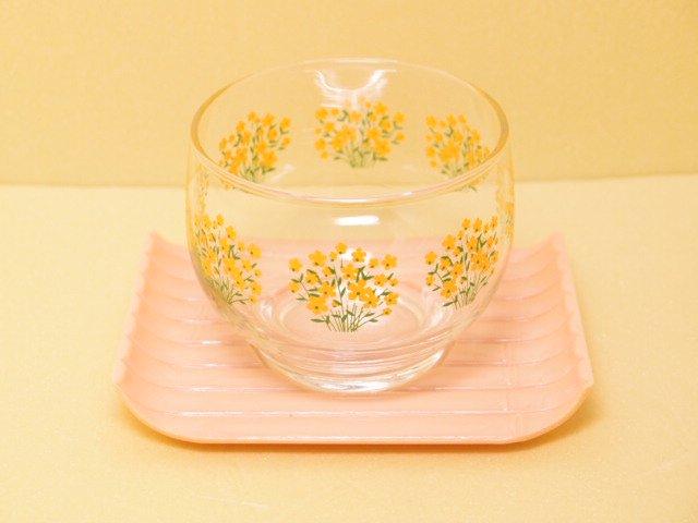 レトロ アデリア 菜の花柄 茶托付 冷茶グラス