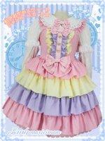 大きいサイズ  LVW1016虹色お空のスウィートジャンパースカート (ゆめかわいい ロリータ)