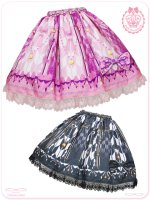 8W5017 乙女蒔絵の矢絣宴 花押手箱の真夢絵巻スカート/和風ロリータ