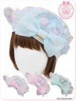 8WH026 チョコミントくまのコティちゃんとマムリンのシャボン玉ベレー帽(ゆめかわいい ロリータ)