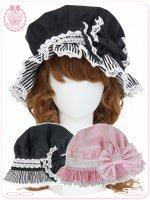 8WH030 アラモードなメイドさんのストライプキャンディー帽子/ロリータ、甘ロリ