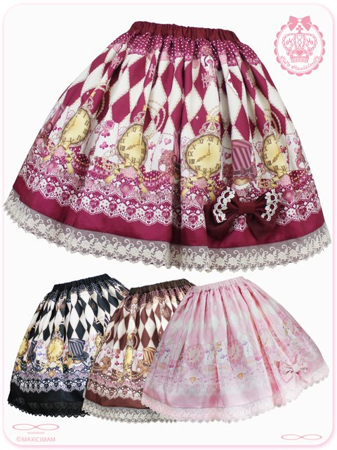 黒猫アリスのマジカル☆ダイヤ柄の不思議な懐中時計スカート 8W5001