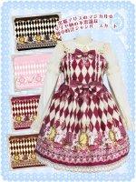 大きいサイズ LV1032黒猫アリスのマジカル☆ダイヤ柄の不思議な懐中時計ジャンパースカート(夢かわいい ロリータ)