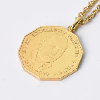 【Seen?】Jamaica Marcus Garvey Gold Plate Necklace