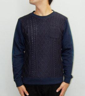 【Seen?】Cable knit Switching Shi Crew Neck<img class='new_mark_img2' src='//img.shop-pro.jp/img/new/icons41.gif' style='border:none;display:inline;margin:0px;padding:0px;width:auto;' />