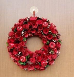 クリスマスリース キラキラリンゴ 赤