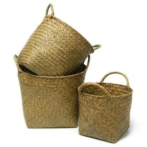 [house doctor]Natural Basket w/handle set of 3