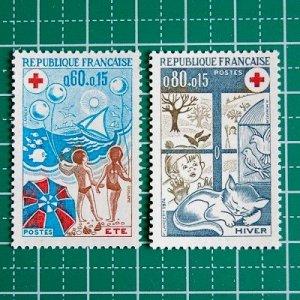 フランス切手/赤十字'74(2枚組)付加金付