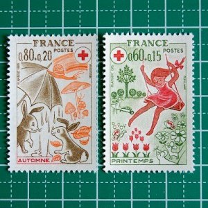 フランス切手/赤十字'75(2枚組)付加金付