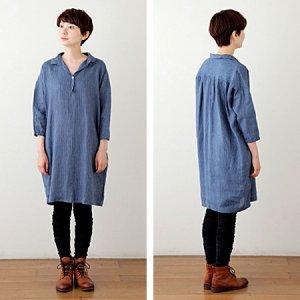 [fog linen work] SEAONA ロングシャツ/インディゴストライプ