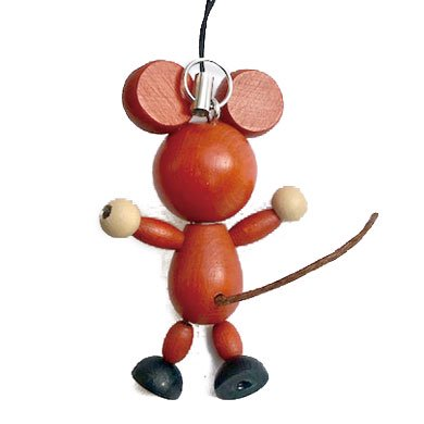 クルテク木製ボディキーホルダー ネズミ