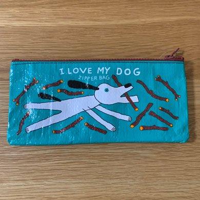 BLUE Qペンケース I LOVE MY DOG