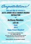 TOPPS FINEST 2013 Anthony Rendon Orange Refractor Auto Redemption 【25枚限定】池袋店 カチカチ山様