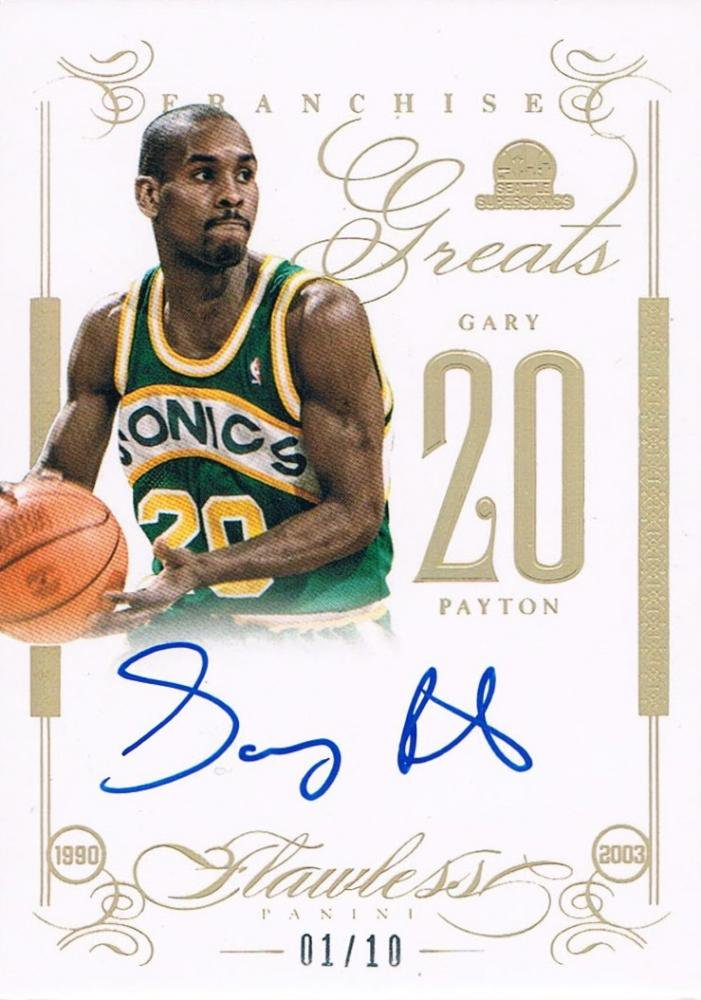 2013 14 panini flawless franchise greats autographs gary payton 10