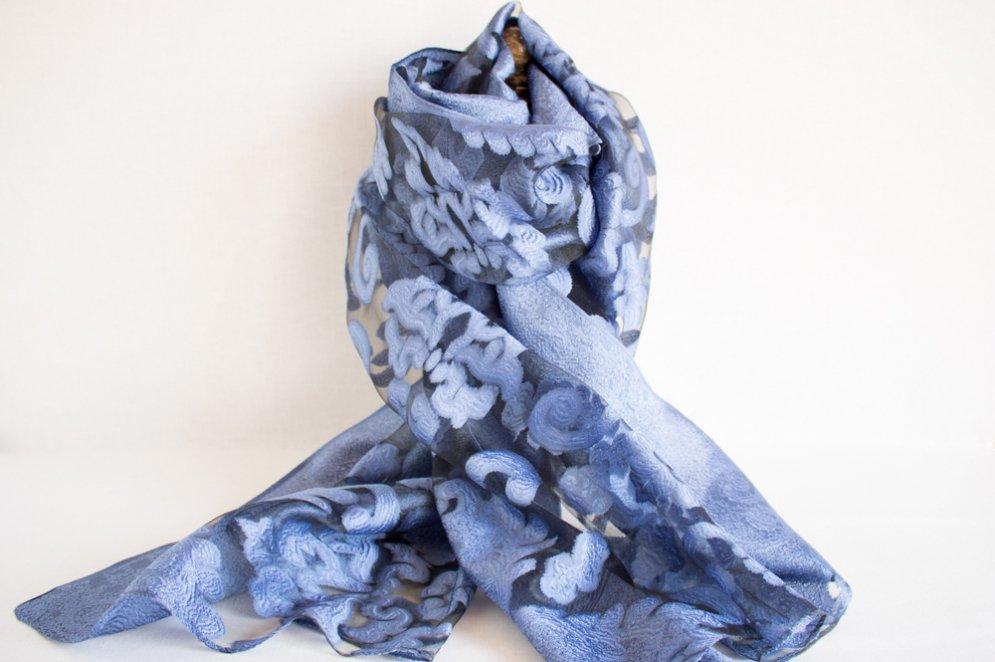 スカーフ オーガンジーレース ブルー