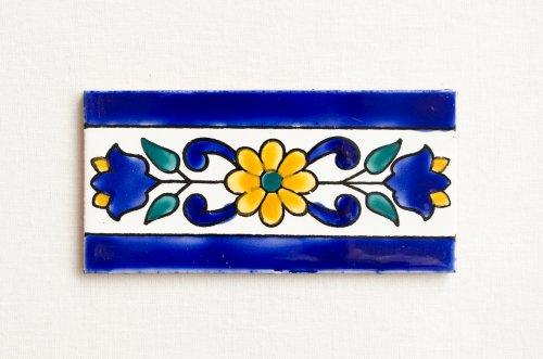 チュニジア 手描きタイル ブルー模様ライン 15cm