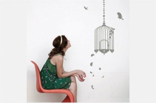 【送料無料でお届け】 Les Invasions Ephémères ウォールステッカー Cage 鳥かごと鳥 シルバー