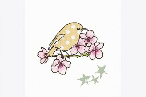 ミミルゥ MIMI'lou アイロンプリント 小鳥とさくら