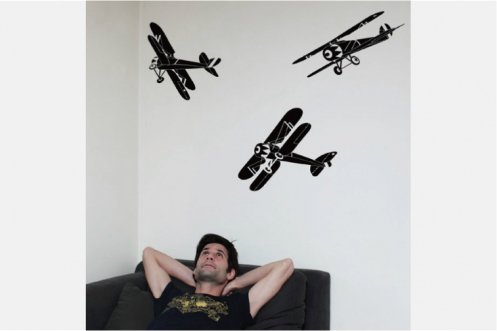 Les Invasions Ephémères ウォールステッカー 飛行機L