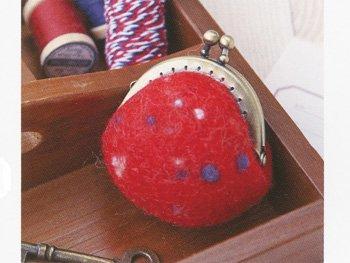 ハマナカ フェルト羊毛キット カラフルネップがま口 赤 H441-435