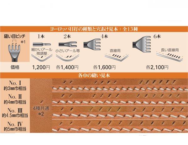 SEIWA プロツール ヨーロッパ目打 No.� 4本刃 約3mm巾相当 【参考画像3】