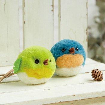 ■廃番■ 購入不可|ハマナカ ボンボン手芸キット まんまる野鳥・メジロとルリビタキ H441-477