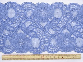 特価 広巾 チュールレース 5mカット 幅約125mm ブルー 【36】