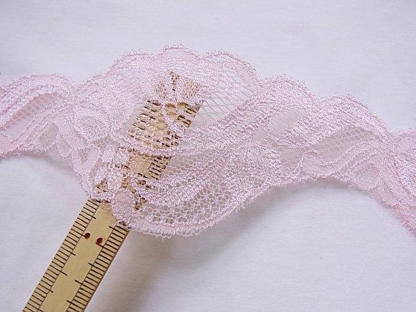 特価 広巾 チュールレース 5mカット 幅約55mm ピンク 【39】 【参考画像5】