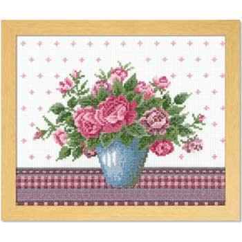 オリムパス 刺繍キット バラとライトブルーの花瓶  7479
