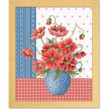 オリムパス 刺繍キット ポピーとブルーの花瓶 7482