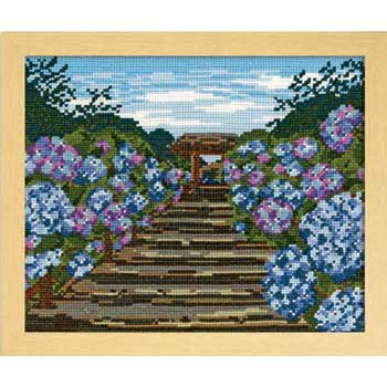 オリムパス 刺繍キット 鎌倉明月院の紫陽花 7460