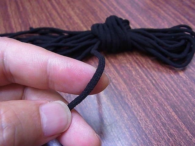 マスクゴム紐 黒 5mカット 丸3mm 【参考画像1】