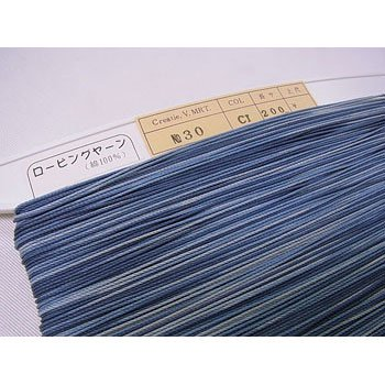 ロー引き紐 ローピングヤーン No30 col.CI 段染ブルー系 太さ約1mm