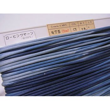 ロー引き紐 ローピングヤーン No75 col.CI 段染ブルー系 太さ約3mm