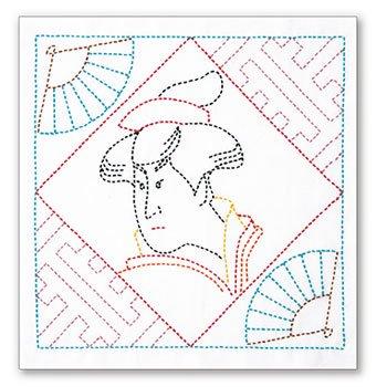 オリムパス 花ふきん 刺し子キット 浮世絵 美人画 SK-395