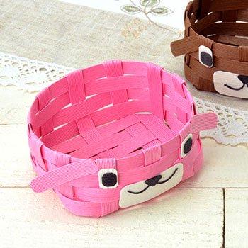 ハマナカ エコクラフト 手芸キット どうぶつかご(犬)ピンク H360-233-2