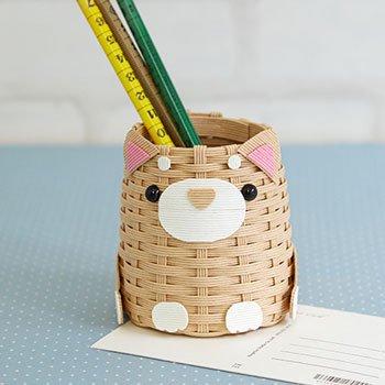 ハマナカ エコクラフト 手芸キット 柴犬のペン立て H360-249