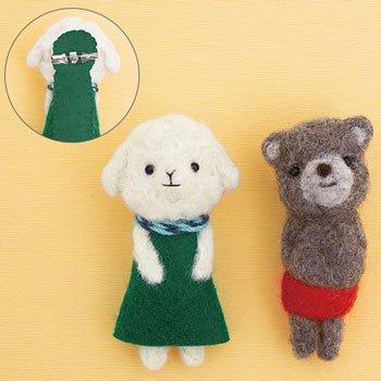 ハマナカ フェルト羊毛キット フェルト羊毛でつくる小さなブローチ ひつじのメリーと赤パンくん(チャグマ) H441-557