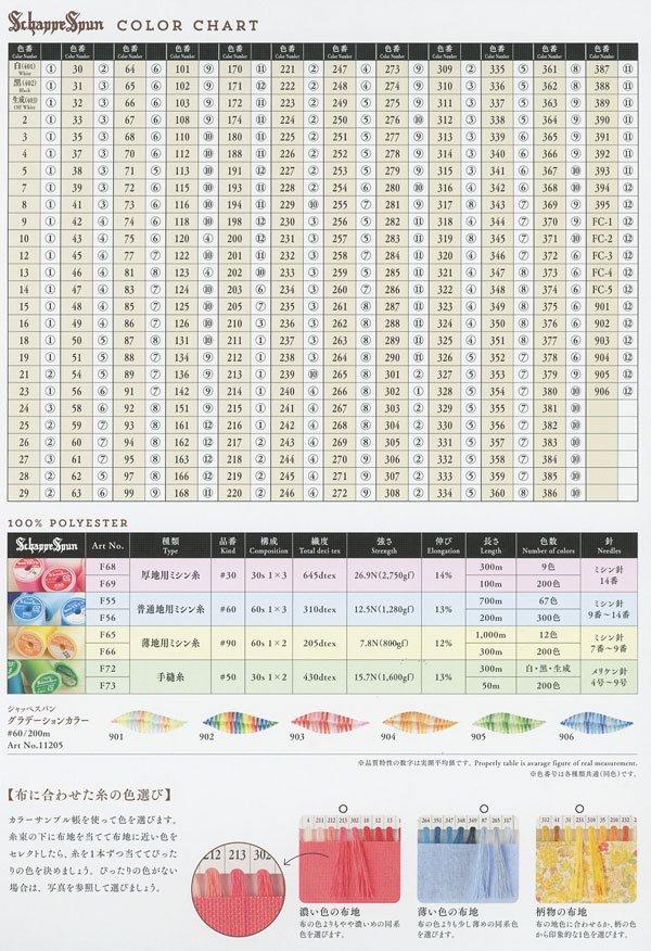 フジックス シャッペスパンミシン糸 60番 見本帳 【参考画像3】