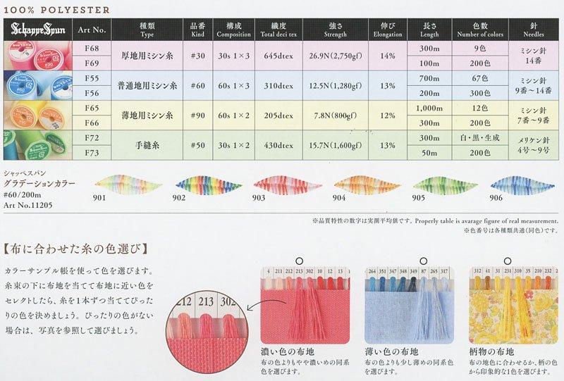 フジックス シャッペスパンミシン糸 60番 見本帳 【参考画像4】