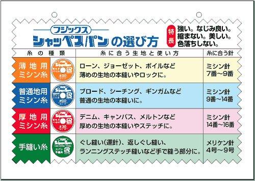 シャッペスパンミシン糸 60番/200m col.白〜28 【参考画像3】